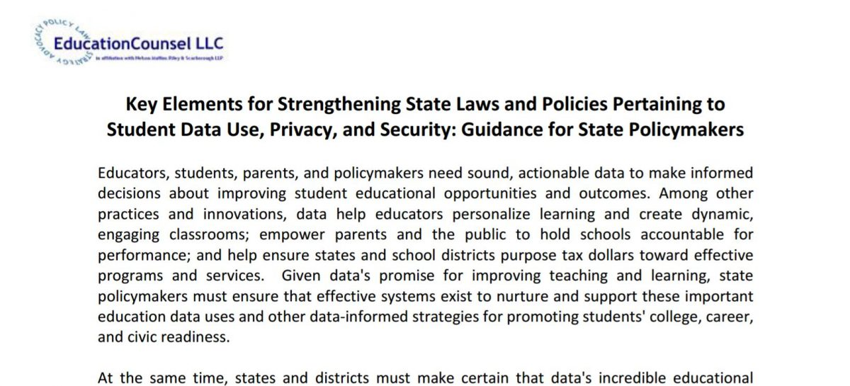 Key Elements for Strengthening State Laws and Policies Pertaining to Student Data Use, Privacy, and Security