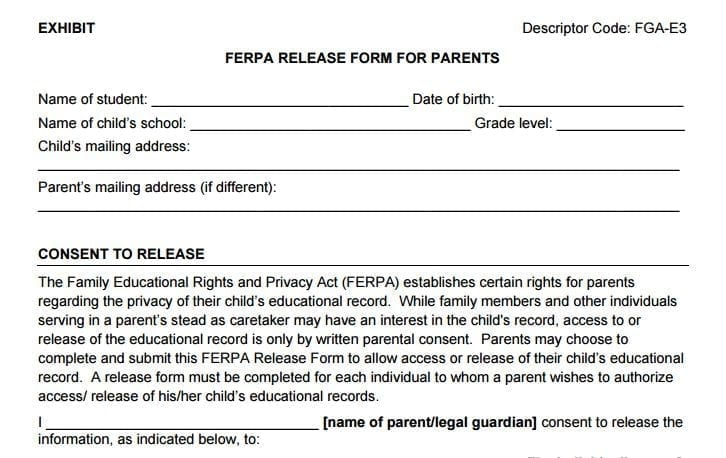 Model: ND FERPA Release Form for Parents – Ferpa|Sherpa