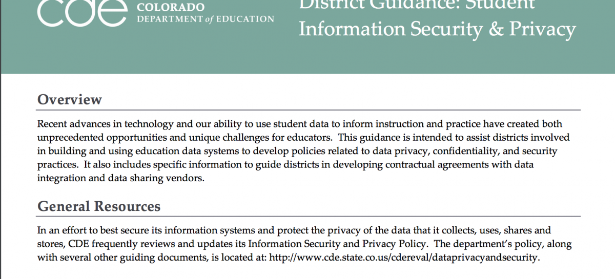 Model: Colorado District Guidance: Student Information Security & Privacy