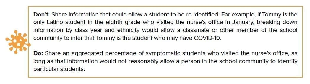 Don't: Share information that could allow a student to be re-identified. For example, if Tommy is the only Latino student in the eighth grade who visited the nurse's office in January, breaking down information by class year and ethnicity would allow a classmate or other member of the school community to infer that Tommy is the student who may have COVID-19. Do: Share an aggregated percentage of symptomatic students who visited the nurse's office, as long as that information would not reasonably allow a person in the school community to identify particular students.